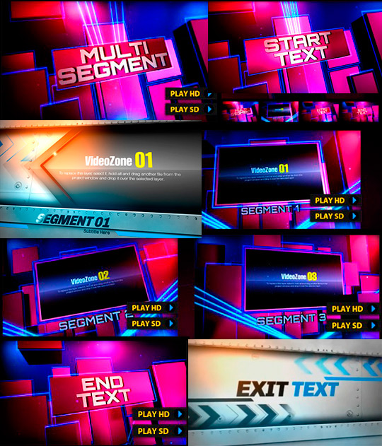 After Effects projects for dynamic video - Footlights Fan and Next Exit