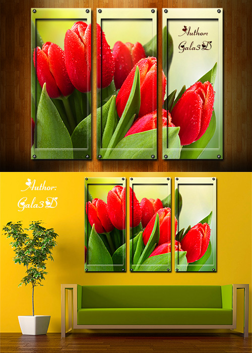 Triptych in psd - TULIPS